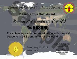 ARLHS Certificate GOLD WAC