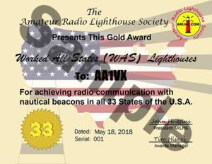 ARLHS Certificate Gold WAS